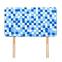 Ready Steady Bed Blue Pixels Design Children's Single Headboard 3ft Bed Size Foam Upholstered