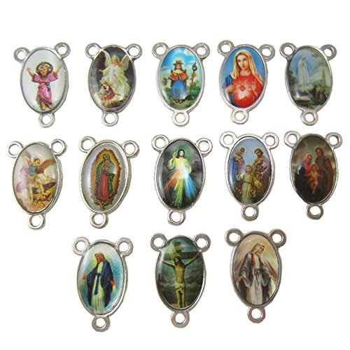100pcs of Assorted Double Sided Holy Family Divine Mercy Medal Rosary Center Centerpieces