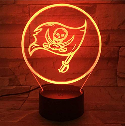 (KUKULE Tampa Bay Buccaneers Night Lamp Bedroom Touch Children Kids Gift Team Logo Led Night Light American Football)