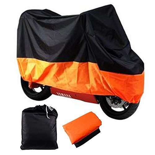 LeaningTech All Season Black&Orange Waterproof Sun Motorcycle Cover, Universally Fits to Harley Davison, Honda, Suzuki, Kawasaki, Yamaha,Street Glide Touring, Lockholes (XXX Large) -