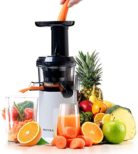 Secura GS-132 Slow Masticating Juicer Low Speed Big Mouth' Cold Press for High Nutrient Fruit and Veggies Juice, White