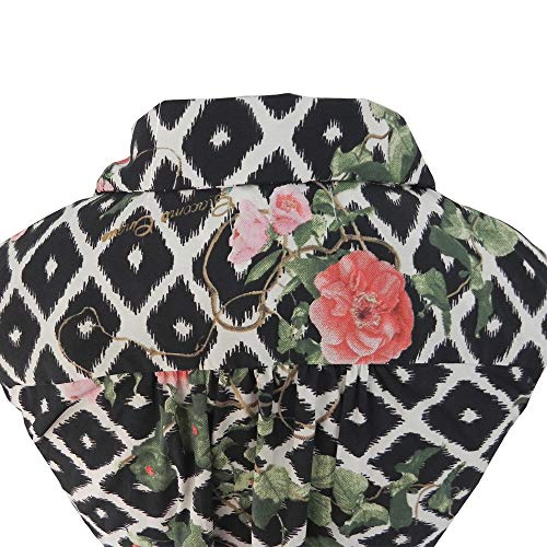 Antica Blanco Negro Y Sartoria vestido Floral rrqwUS