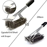 """Barbecue Grill Brush Bristles,Alago 18"""" Best BBQ Grill Brush Stainless Steel Woven Wire 3 in 1, Durable and Effective, Barbecue Cleaner Tool"""