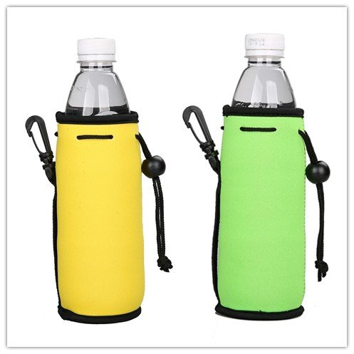 E - Living 500ML (16.9 OZ) Collapsible Neoprene Water Bottle Drawstring Cooler / Coolie / Cover / Insulator / Holder / Huggie / Sleeve - 2 Pack (13 Colors) (Yellow & Lime Green)