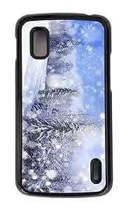 Google Nexus 4 Case,MOKSHOP Adorable winter forest scenery Hard Case Protective Shell Cell Phone Cover For Google Nexus 4 - PC Black
