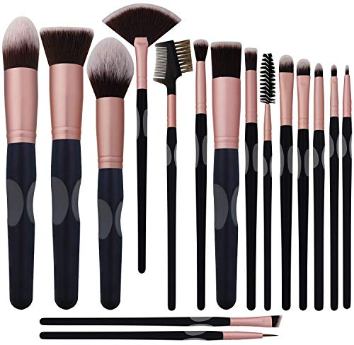 New BS-MALL Makeup Brushes Premium Synthetic Foundation Powder Concealers Eye Shadows Silver Black Makeup Brush Sets(16 Pcs,Rose Black) ...