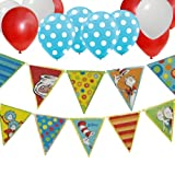 Dr Seuss Cat in the Hat Birthday Party Banner - 30 Balloons Red White Blue White Dot