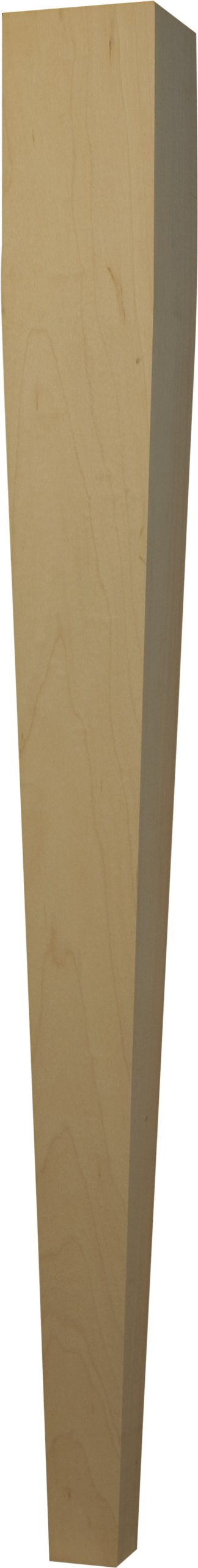 One Piece Square Dining Table Leg with a Four-Sided Taper in Soft Maple - Dimensions: 29 x 2 3/4 inches