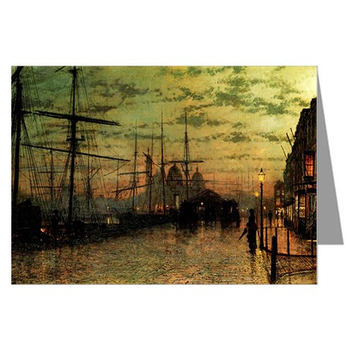Single Vintage Greeting card of John Atkinson Grimshaw Victorian Painting of London Street Scene titled Humber Dockside Hull, 1881 (Hd81 Lamp)