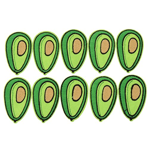 Kesheng 10Pcs Avocado Patches Iron On Embroidered Applique Patches DIY Craft Cloth Decoration Accessories