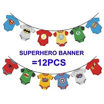 amazon com cute superhero banners baby shower birthday party kids