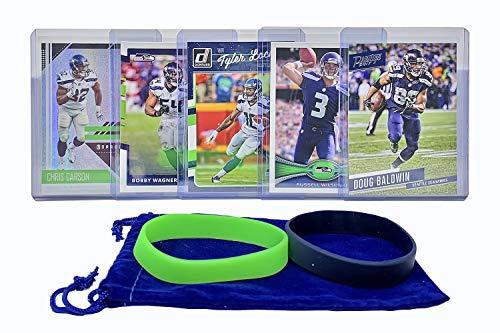 Seattle Seahawks Cards: Russell Wilson, Chris Carson, Doug Baldwin, Tyler Lockett, Bobby Wagner ASSORTED Football Trading Card and Wristbands Bundle