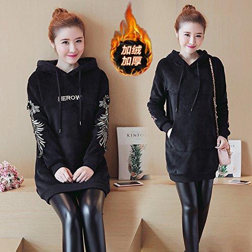 Xing Lin Top Con Cappuccio La Nuova Ed Elegante Inverno Più Spessa Di Velluto Felpa Con Cappuccio Abito Ricamato