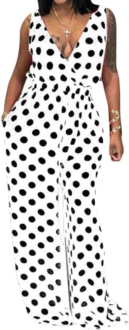 UUYUK Women Jumpsuit Romper Polka Dot Print Wide Leg V-Neck Sleeveless One Piece Jumpsuit Romper