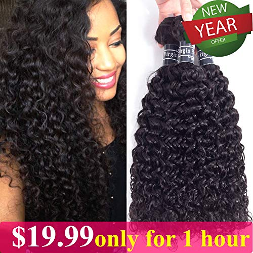 Amella Hair Brazilian Curly Hair Weave 3 Bundles (14 16 18,300g) Brazilian Virgin Kinky...