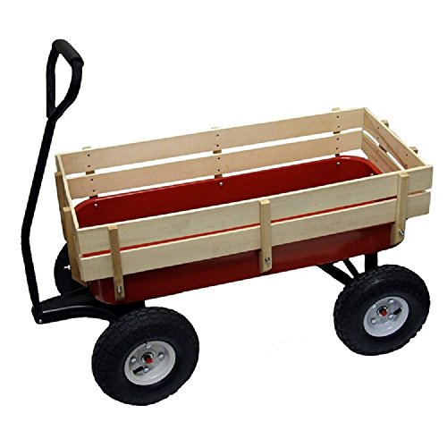 1st Web Sales All Terrain Wagon Big Wheel Garden Red Steel Full Size Wood Cargo Sides Kids -