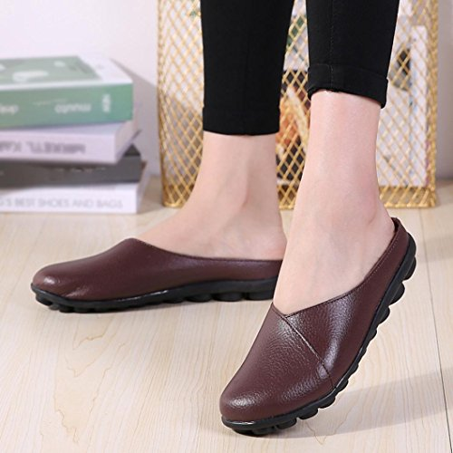 On Soft Loafers Women's Flats Coffee SUKEQ Mules Shoes Leather Comfort Slip Casual Bottom Split Boat Shoes 8qwxxz5R