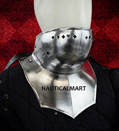 NAUTICALMART Full gorget With Bevor - Front Plate and backplate - 18 Gauge by NAUTICALMART
