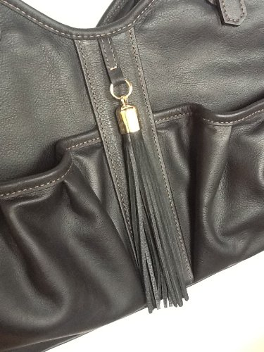 Petote Metro Couture All Leather with Tassel Dog Carrier, Midnight, Large