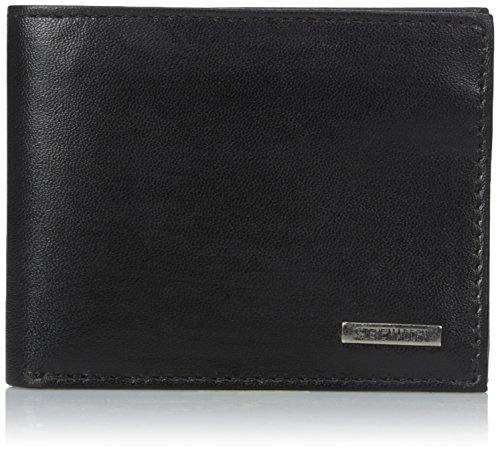Steve Madden Men's Leather Passcase Wallet with Key Fob, Black, One Size