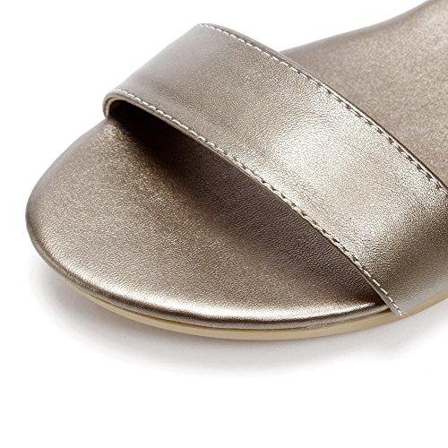 AalarDom Mujer Hebilla Puntera Abierta Mini Tacón Pu Sólido Sandalias de vestir Metalico