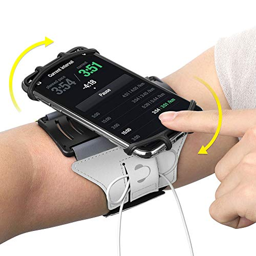 VUP Running Armband for iPhone Xs Max/XS/XR/X/6S/7/8 Plus, Galaxy S10/S9 Plus/S8/ Note 9/8/J7, LG G6/V30, Google Pixel 3/2 XL, 180 Rotatable Cell Phone Holder Arm Band for Gym Workout (Silver) ()