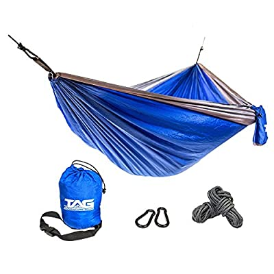 TAG Camping Hammock - Double Hammock is Spacious, Lightweight & Super Comfortable - Folding Parachute Portable Hammock is Perfect for Backpacking, Tree, Yard and Outdoor Travel