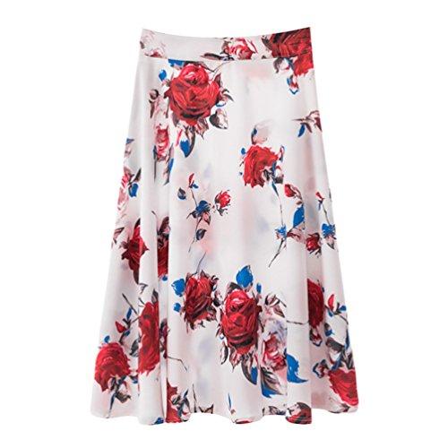 Plisse Impression t Midi Femme Respirant Confortable Numrique Casual Haute 13 Impression Yuanu Skirt Mode Jupe Taille Style OU16qqnH