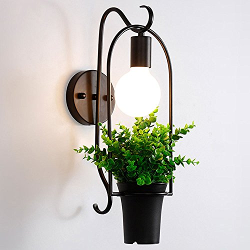 Nclon Modern Simple Metal basket Flower pot Wall sconces,E27 Base Creative Aisle Living room Bedroom Wall lamp Lighting Northern europe Sconce No bulb inculde-2456cm