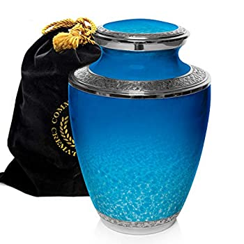 Image of Ocean Tranquility Cremation Urns for Human Ashes Adult for Funeral, Burial, Columbarium or Home, Cremation Urns for Human Ashes Adult 200 Cubic Inches, Urns for Ashes, Adult/Large Home and Kitchen