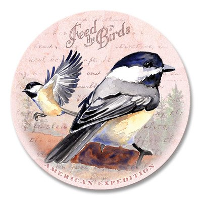 (5 Piece Chickadee Postcard Stone Coaster Set)