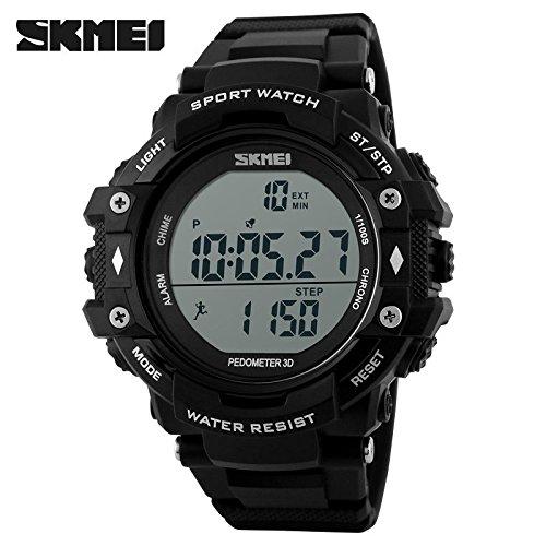 Skemi podómetro para hombre deportivo reloj de pulsera LED alarma digital al aire libre impermeable reloj: Amazon.es: Relojes