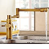 copper kitchen faucets pull out Kitchen faucet/European antique/All copper folding retractable hot and cold vegetables basin sink faucet