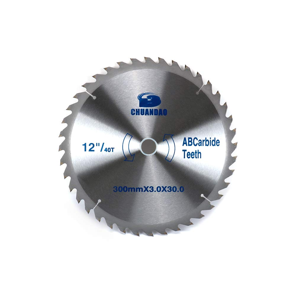 Join Ware 12 Inch 300mm 40 Tooth Carbide Circular Saw Blade For Wood Cutting With 30mm 1-1/8'' Arbor