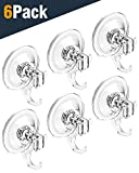 Quntis Suction Cup Hooks Heavy Duty Waterproof Bathroom Shower Suction Hooks Powerful Vacuum Window Suction Robe Coat Towel Washcloth Loofah Sponge Wreath Keys Bags (Set of 6)
