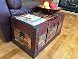 Ancient City Medium Wood Storage Trunk Wooden Treasure Chest