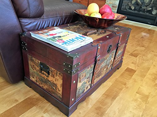 Ancient City Medium Wood Storage Trunk Wooden Treasure Chest - Victorian Hope Chest