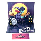 Paper Spiritz Witch Pop up Cards Halloween for Kids Scary Spooky 3D Handmade Halloween Greeting Card for Friend Her Mom Dad with Note Card and Envelope