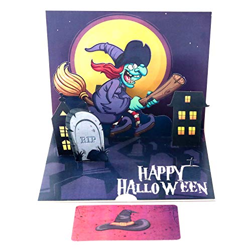 Paper Spiritz Witch Pop up Cards Halloween for Kids Scary Spooky 3D Handmade Halloween Greeting Card for Friend Her Mom Dad with Note Card and Envelope -
