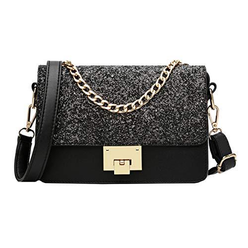 Purse Boutique (Goodbag Boutique Women Sparkly Sequin Chain Tote Handbag Clutch Girl Exquisite Shoulder Crossbody Bag Black)