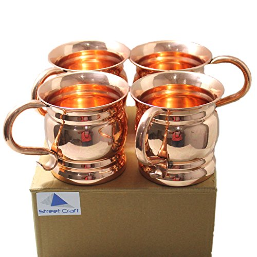 STREET CRAFT Set of 4 Pure and Authentic Copper Old Fashion Smooth Moscow Mule Mug with Flat Lip Copper Moscow Mule Mugs Copper Curve Handle (Peach Schnapps Cocktails)