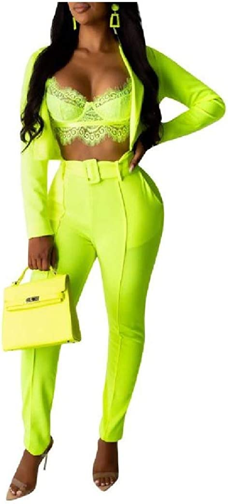 RingBong Womens Office Mordern-Fit Long-Sleeve 2-Piece Suit Set