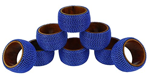 (ShalinIndia Handmade Indian Blue Aluminum Ball Chain Napkin Rings - Set of 8 Wooden Napkin Holders - Industrial Chic Look - Made in India)