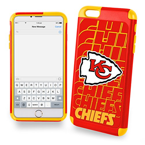 """Forever Collectibles Dual Hybrid 2-Piece TPU 4.7"""" screen Only Case for iPhone 6 Plus - Retail Packaging - Kansas City Chiefs"""