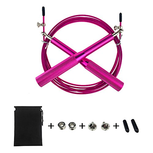 Speed Jump Rope New Skipping Rope for Fitness Workouts Fat Burning Exercises Crossfit Boxing Speed Skip Training Adjustable for Men Women Children – Pink For Sale