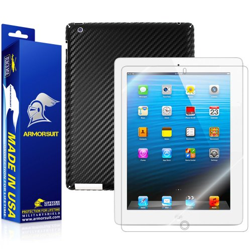 - ArmorSuit iPad 2 Screen Protector MilitaryShield + Black Carbon Fiber Skin Wrap Film Back Film Protector for iPad 2