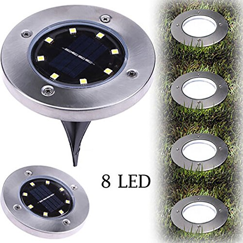 Wotryit LED Solar Power Buried Light Ground Lamp Outdoor Path Light Spot Lamp Yard Garden Lawn Landscape Decking Waterproof (8 LED, Warm White)