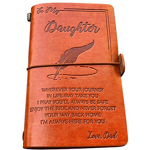 To My Daughter Leather Journal from Dad - Enjoy the Ride and Never Forget the Way Home Notebook - 120 Page Travel Diary Journal Sketch Book Graduation Back to School Gift for Girls ()