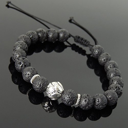 Men and Women Adjustable Braided Bracelet Handmade with 8mm Lava Rock and No Lead & Nickle Tibetan Silver Lotus Bead & Spacers