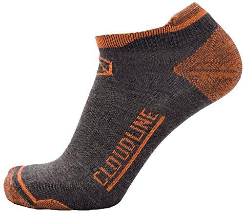 CloudLine Merino Wool No Show Athletic Tab Ankle Running Socks - Ultra Light - Large Hi-Vis Orange - for Men & ()